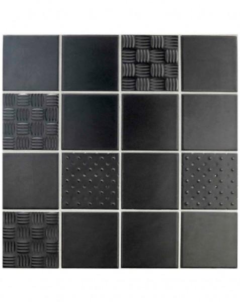 Steel Tile Range - Black Matt, Point & Net Kitchen Tiles